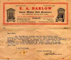 Mr Coleman's letter to his suppliers following Mr Barlow's retirement