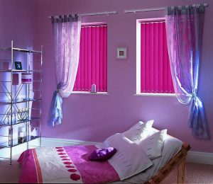 pink and purple bedroom blinds
