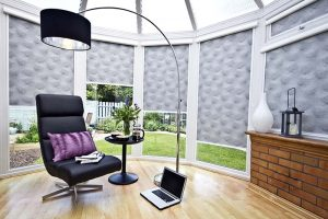 Roller blind in a conservatory