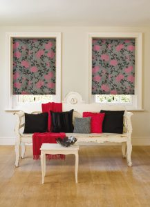 Pink flowers on blinds