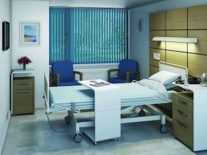 Hospital room with closed blinds