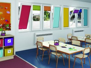 Colourful blinds in a classroom