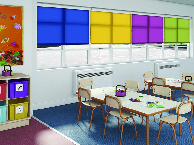 Blinds in a classroom
