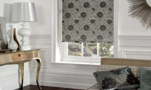 black and white flowers on blinds