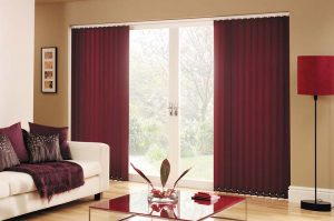 Dark red vertical blinds