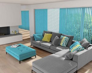 cyan coloured blinds