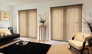 Living room with vertical blinds