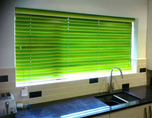 Green blinds in kitchen