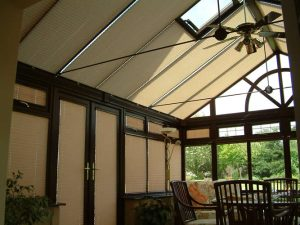 Blinds covering a conservatory