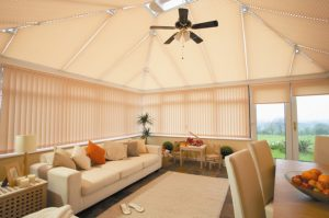 Conservatory covered in blinds