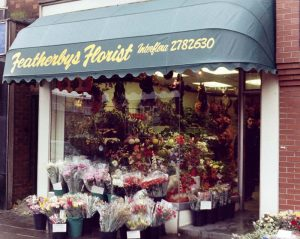 Awning outside of a flower shop