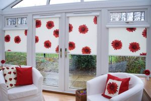 Red flowers on blinds