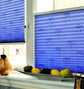Blue blinds with flowers