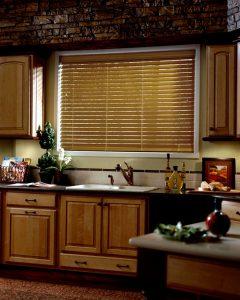Wooden blinds in kitchen