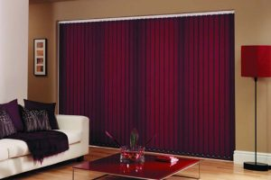 Dark red coloured blinds