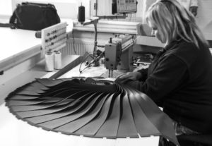 Vertical louvres being sewn by Caron in our Leicester factory.