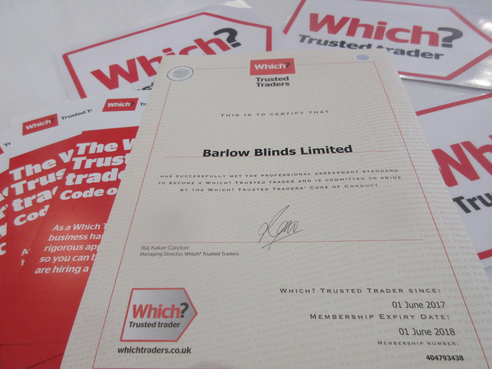 which? trusted trader certificate for barlow blinds blinds company