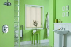 green bathroom with blinds