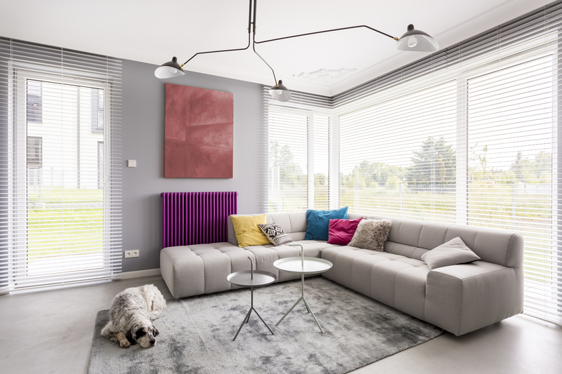 stylish room with blinds